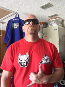 Jason modeling the new Victor Huber Gracie Jiu-jitsu t-shirts